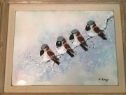 """Snow Birds"" Original Enamel on Copper by Max Karp"