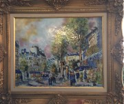"""Street Scene"" Original Enamel on Copper by Max Karp"