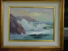 """Untitled"" Framed Original Oil/Canvas Seascape by Marshall Merritt"