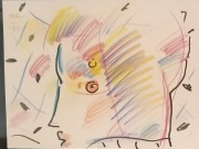 """Profile"" Original drawing with pen and colored pencil by Peter Max"