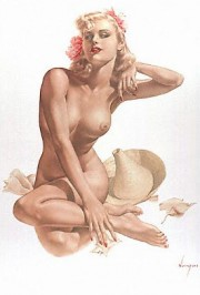 """Sea Shells"" Deluxe Lithograph on Odalisque by Alberto Vargas"