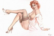 """Silk Stockings"" Deluxe Lithograph/Opalisque by Alberto Vargas"