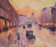 Along the Boulevard 1930 Original Acrylic on Canvas by Slobodan Paunovic