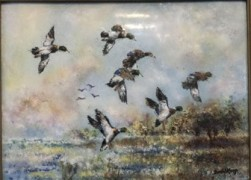 """Ducks Landing"" Original Enamel on Copper by David Karp"