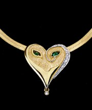 """Emerald Eyes"" 18K Gold With Diamonds and Enamel Mask Pendant by Erte"