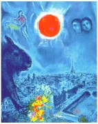 """The Sun Over Paris"" Plate-Signed Lithograph by Marc Chagall"