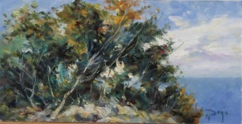 """Pinos y Mar"" Original Oil on Canvas by Royo"