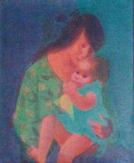 """Mother & Child"" Original Acrylic/Canvas by Gustav Likan"