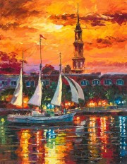 """Charleston Waterfront"" Hand-Embellished Giclee on Canvas by Daniel Wall"