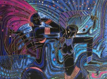 """""""Sambistas"""" 1990 Serigraph on Arches Paper by Adrian Wong Shue"""