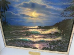 """Evening Island Surf"" Original Oil on Canvas by Christian Riese Lassen"