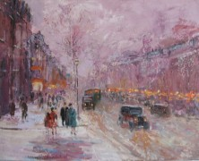 On The Boulevard 1930 An original acrylic on canvas by Slobodan Paunovic