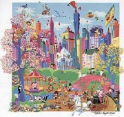"""Looney Tunes Takes Manhattan"" Serigraph by Melanie Taylor Kent"