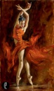 """""""Fiery Dance"""" Hand-Embellished Giclee/Canvas"""