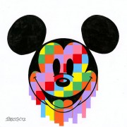"""Pixel Drip Mickey"" Hand-Embellished Giclee/Canvas by Tennessee Loveless"
