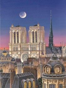 """Paris Rooftops with Notre Dame"" hand-signed archival print on canvas by Liudmila Kondakova"