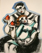 """Lovers With Pomegranates"" Hand-Painted Limited Edition Serigraph by Yuroz"