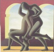The Kiss serigraph by Mark Kostabi