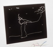 """""""Solo Kite Flyer"""" etching from Seven Dreams Suite of framed etchings by Peter Max"""