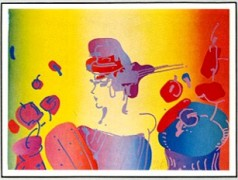 """Lady With Flowers"" Lithograph by Peter Max"