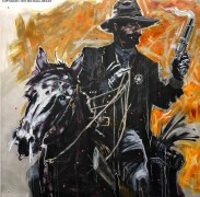 """Texas Ranger"" Original Mixed Media on Aluminum by Michael Bryan"