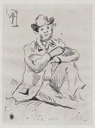 """Portrait de Guillaumin (with the hanged man)"" c 1873 by Paul Cezanne"