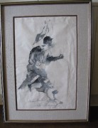 """Mickey Mantle"" Original Ink/Rice Paper by LeRoy Neiman"