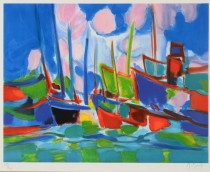 """""""Marine aux Nuages"""" Lithograph by Marcel Mouly"""