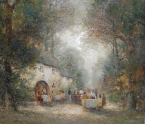 """Garden Party"" Original Oil on Canvas by Willi Bauer"
