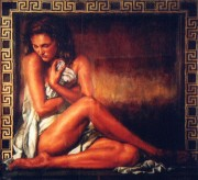 """Girl With Greek Key"" Serigraph by Tomasz Rut"