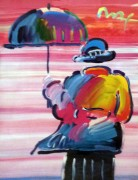 """Umbrella Man '99"" Unique Mixed Media acrylic on Lithograph by Peter Max"