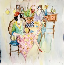 """Untitled"" 4 Original  Mixed Media Watercolor by Itzchak Tarkay"