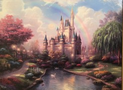 """""""A New Day at the Cinderella Castle"""" Hand Highlighted Canvas print by Thomas Kincade"""