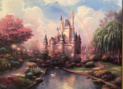 """A New Day at the Cinderella Castle"" Hand Highlighted Canvas print by Thomas Kincade"