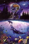 "Whale Star"" Mixed Media Graphic on Paper by Christian Riese Lassen"