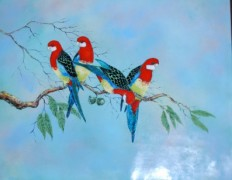 """Rosette Parrots"" Enamel on Copper by Max Karp"