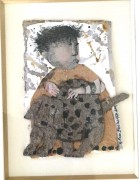 """Irene et Son Chien"" Original Mixed Media Collage by Graciela Rodo Boulanger"