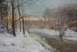 """Winter Motif With River"" Original Acrylic on Canvas by Slobodan Paunovic"