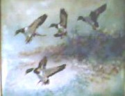 """Four Ducks"" Original Enamel on Copper by David Karp"