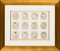 """Calendar Postcards: Suite of 12 Months"" by Alphonse Mucha"