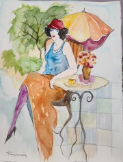 """Untitled 2"" Original Watercolor on French Arches Paper by Itzchak Tarkay"
