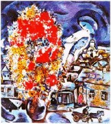 """Le Bouquet et Village Bleu"" Plate-Signed Lithograph by Marc Chagall"