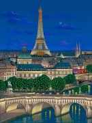 """Le Pont Neuf"" Hand-Pulled Serigraph on Canvas by Liudmila Kondakova"