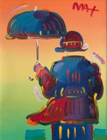 """Umbrella Man on Blend, Ver II. #122"" Mixed Media on Canvas by Peter Max"
