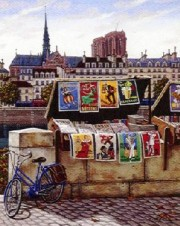 """Pont Neuf - Postcards from Paris suite"" Framed & Signed Serigraph on Canvas"