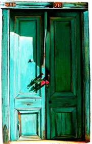 """Green Door #26"" Serigraph on heavy paper by Igor Medvedev"