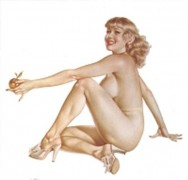 "Legacy Nude #1, ""Apple Girl"" Lithograph/Arches by Alberto Vargas"