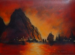 """Sunset in Macau"" Original Enamel on Copper by Max Karp"