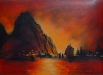 """Sunset in Macau"" Original Enamel on Copper by Max Karp"