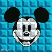 """8 Bit Block, Mickey in Aqua"" Giclee/Canvas by Tennessee Loveless"